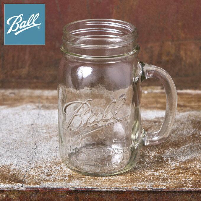 Made In USA【Ball】ボールDrinking Mug ドリンキング マグMason Jar メイソンジャー ジョッキ ハンドル16oz 480mlClear クリアー