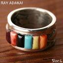ナバホ族【RAY ADAKAI】レイアダカイInlay Ring インレイリングSize L(21号) z5x