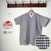 【REDKAP -CHEF DESIGNS-】レッドキャップ -シェフデザインズ-V-NECK CHEF SHIRT Vネックシェフシャツ TシャツHoundtooth(千鳥格子柄)BLACK/WHITE(ブラック/ホワイト)