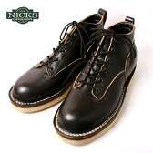 20%OFF!SALE♪Made in USA【NICKS BOOTS】ニックスブーツ4inch LACE TO TOE 6インチ レーストゥートゥホースハイド ブラック