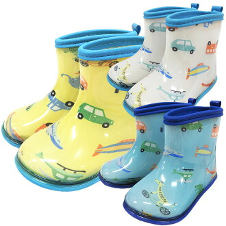Car print rain shoes boots blue and yellow works KidsForet kids for Le