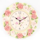 A special price resin round shape wall wall clock (淡 pink Rose) [10P23may13] [RCP] [marathon201305_daily 】【% OFF]