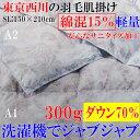 西川産業(東京西川) ウォッシャブル羽毛肌掛けふとん[ダウン70%](シングルロン