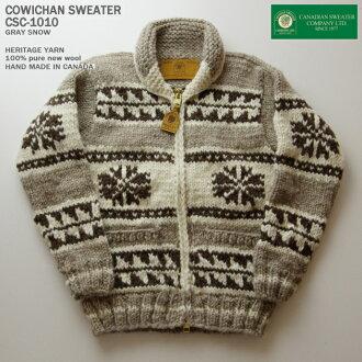 種毛衣毛衣 (種毛衣外套) | 加拿大毛衣公司 (加拿大毛衣公司) 和取得的加拿大 | CSC-1010年雪 (雪) | 灰色 | 男裝 | 羊毛 100%(遺產 Jan) | 打開 | 郵編 (雙向拉鍊) | 長袖