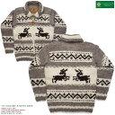 ショッピングウール カナディアンセーター カウチンセーター(ジャケット) Canadian Sweater Company(カナディアン セーター カンパニー)・カナダ製 CSC-1034 JUMPING DEER(ジャンピング ディア) グレイ メンズ ウール100%(ヘリテージヤーン) フルオープン ジップアップ 長袖