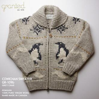 種毛衣毛衣 | 理所當然 (理所當然的),在加拿大 | GR 109b 企鵝 (企鵝) | 灰色木炭 | 男裝 | 100%羊毛 | 打開 |-YKK 拉鍊 (雙向 YKK 拉鍊) | 拉木標籤 | 種毛衣針織 | 長袖