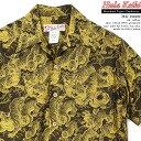 ショッピングハワイアン アロハシャツ|フラケイキ ハワイアン(HULA KEIKI HAWAIIAN)|マカナレイの姉妹ブランド|HK-19009 百虎 闇 ジャガード(Hundred tigers darkness Jacquard)|イエロー|メンズ|コットン100% ジャガード|開襟|フルオープン|半袖|アロハタワー(アロハシャツ販売)