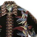 アロハシャツ|カメハメハ(KAMEHAMEHA)|kam-b バードオブパラダイス(Bird of Paradise)|ブラック|メンズ|レーヨン100%(Rayon100%)|開襟(オープンカラー)|フルオープン|半袖|アロハタワー(アロハシャツ販売)