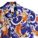 ショッピングアロハシャツ アロハシャツ ララカイ(LALAKAI)|マカナレイ(MAKANALEI)の姉妹ブランド|HL-055鯉2・ネイビー|メンズ|縮緬(ちりめん)シルク|薄手生地|半袖|アロハタワー Aloha Shirt LALAKAI