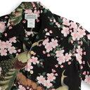 アロハシャツ・マカナレイ(MAKANA LEI)|AMT-076孔雀・ブラック|メンズ|縮緬(ちりめ