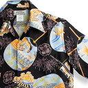アロハシャツ マカナレイ(MAKANA LEI)AMT-062EX 花火エクセレント ブラック メンズ 平織りジャガードシルク 薄手生地 半袖 アロハタワー(アロハシャツ販売)