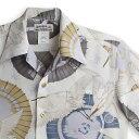 ショッピングアロハシャツ アロハシャツ・マカナレイ(MAKANA LEI)|AMT-066サギ・アイボリー|メンズ|縮緬(ちりめん)シルク|薄手生地|半袖|アロハタワー(アロハシャツ販売) MAKANALEI