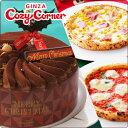 【送料込】まろやかチョコクリームのケーキと2種のピッツァのセット 2017 クリスマスケーキ セット割 予約 冷凍ケーキ ピザ ギフト プレゼント パーティ お礼 子供 コージーコーナー銀座コージーコーナー クリスマスチョコレートケーキ(5号)&2種のナポリピッツァ