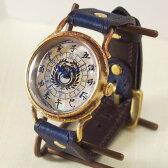 達磨(だるま)手作り腕時計 「本藍」[DW0001-01] 時計作家・ARKRAFT 新木秀和さんとコラボしたハンドメイドウォッチ・ハンドメイド腕時計・和時計 メンズ・レディース 草木染め・本藍染めの本革ベルト 和風 和柄 真鍮 クオーツ アンティーク調 アナログ 日本製 国産