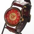 達磨(だるま)手創り腕時計 「朱雀」 螺鈿(らでん)文字盤 [DW0002-02] 時計作家・ARKRAFT 新木秀和さんとコラボしたハンドメイドウォッチ・ハンドメイド腕時計・和時計 メンズ・レディース 型押し・手染めの革ベルト 和風 和柄 真鍮 クオーツ 日本製 国産