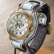 達磨(だるま)手作り腕時計 「白虎」 Wストラップ [DW0002-03] 時計作家・ARKRAFT 新木秀和さんとコラボしたハンドメイドウォッチ・ハンドメイド腕時計・和時計 メンズ・レディース 本革ベルト 和風 和柄 真鍮 クオーツ アンティーク調 アナログ 日本製 国産