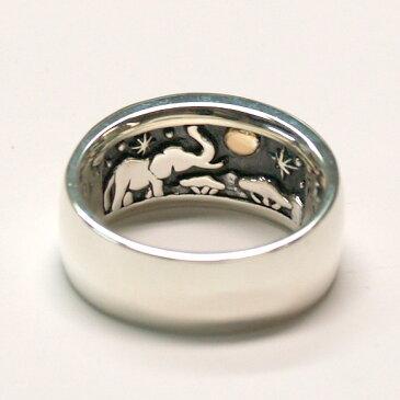 moge(モゲ) シルバーアクセサリー 同じ月を見てた—アフリカゾウ— シルバーリング 10mm [mo-R-035] アクセサリー作家・山口光司さんの手作りアクセサリー・ハンドメイドジュエリー・ペアリング・指輪 満月 星 スター 動物 アニマル メンズ レディース 日本製 国産