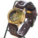 """渡辺工房 手作り腕時計 手巻き式 裏スケルトン """"Explorer2"""" メンズブラス [NW-BHW014B] 時計作家・渡辺正明 機械式ハンドメイドウォッチ ハンドメイド腕時計 手作り時計 メンズ・レディース 本革ベルト 真鍮 アンティーク調 スチームパンク レトロ 日本製 刻印・名入れ無料"""