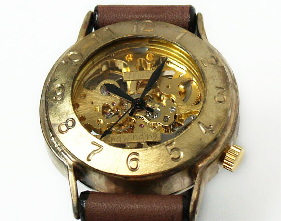 渡辺工房 手作り腕時計 手巻き式 裏スケルトン...の紹介画像2