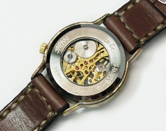 渡辺工房 手作り腕時計 手巻き式 裏スケルトン...の紹介画像3