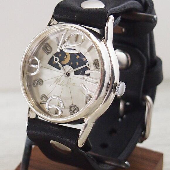 """渡辺工房 手作り腕時計 """"J.S.S.2 SUN&MOON"""" ジャンボシルバー [NW-JUM38BSV-SM] 時計作家・渡辺正明さんのハンドメイドウォッチ ハンドメイド腕時計 手作り時計 メンズ レディース 本革ベルト レトロ アナログ 日本製 刻印・名入れ無料"""