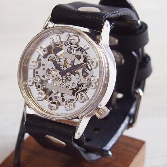渡辺工房 手作り腕時計 手巻き式 裏スケルトン ジャンボシルバー [NW-SHW078] 時計作家・渡辺正明さんのハンドメイドウォッチ ハンドメイド腕時計 手作り時計 メンズ・レディース 本革ベルト レトロ アナログ 日本製 刻印・名入れ無料 【刻印OK】【ケースの素材にシルバー925を使用し手作業で組み上げた、個性的な機械式ハンドメイド腕時計】