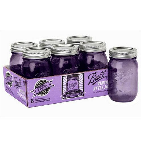 ボールメイソンジャー正規品 レギュラーマウス 480ml パープル 6個入 / Ball Mason Jar Heritage Collection Purple 16oz 6pc Set