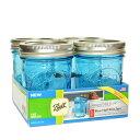 ボールメイソンジャー レギュラーマウス コレクションエリート ブルー 240ml 4個入 / Ball Mason Jar Collection Elite Blue Regular Mouth 8oz 4pc