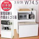ゴミ箱付キッチン家電収納ラック ロータイプ 3分別 完