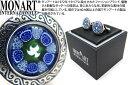 """MONART モンアート """"MURRINE"""" VENETIAN GLASS BLUE FLOWER ROUND CUFFLINKS ムッリーネ ベネチアンガラス..."""