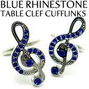 VALUE3500 BLUE RHINESTONE TABLE CLEF ブルーラインストーント音記号カフス【カフスボタン カフリンクス】