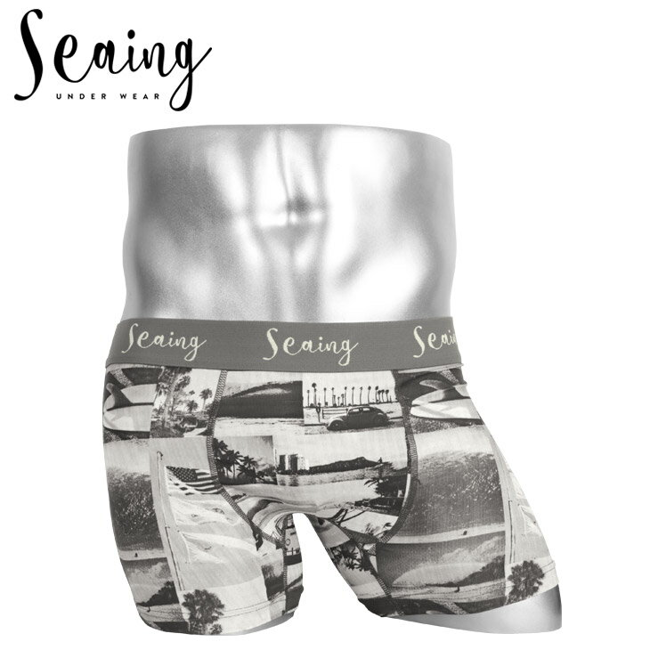 Seaing/シーング ボクサーパンツ メンズ 下着 PHOTO フォトプリント サーフ 海 ハワイ 水着インナー 誕生日プレゼント 彼氏 父 男性 ギフト