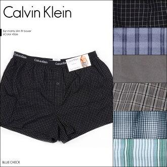 ★ Calvin Klein (Calvin Klein) woven slim fit boxer trunks ★ male underwear mens Underware brand pants CK check border stripe birthday present boyfriend gift Calvin Klein