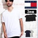【3枚セット】トミーヒルフィガー Tシャツ メンズ 半袖 V...