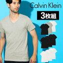 【3枚セット】カルバンクライン 半袖 Tシャツ メンズ おしゃれ トップス インナー Calvin Klein Classic Vネック CK ロゴ ワンポイント 綿100 吸汗 3枚組セット ブランド プチギフト 誕生日プレゼント 彼氏 父 男性 ギフト 記念日 m4065