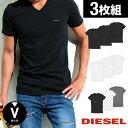 【3枚セット】DIESEL/ディーゼル Vネック Tシャツ メンズ 半袖 Essentials 男性 トップス 無地 ワンポイント ルームウェア ブランド 綿100 コットン 福袋 3枚組 誕生日プレゼント 彼氏 父 ギフト