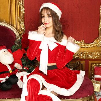 サンタコスプレ長袖サンタコスクリスマスコスチューム激安大きいサイズ衣装セクシーサンタクロースパーティサンタコスプレクリスマスコスプレサンタコスチューム赤レッド黒ブラックブラックサンタサンタ帽子レッグウォーマーレディースファッション