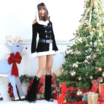 サンタコスプレ長袖サンタコスクリスマスサンタクロースコスチューム激安大きいサイズ衣装サンタコスプレコスセクシーパーティクリスマスコスプレサンタコスチューム赤レッド黒ブラックブラックサンタパンツレッグウォーマーレディースファッション