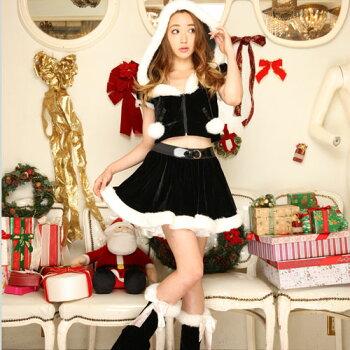 サンタコスプレサンタコスクリスマスコスチューム激安大きいサイズ衣装コスセクシーサンタクロースパーティサンタコスプレクリスマスコスプレサンタコスチューム赤レッド黒ブラックブラックサンタ小悪魔フードレッグウォーマーレディースファッション
