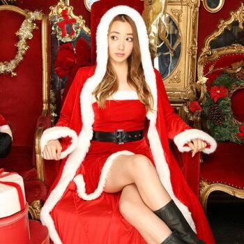 【サンタケープポンチョコートマント】サンタコスプレ激安長袖サンタコスクリスマスコスチュームサンタクロース大きいサイズ衣装コスセクシーパーティサンタコスプレサンタコスチュームクリスマスコスプレ赤レッド2016ロングレディースファッション