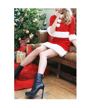 サンタコスプレサンタコスクリスマスコスチューム激安大きいサイズ衣装コスセクシーサンタクロースパーティ半袖長袖サンタコスプレクリスマスコスプレサンタコスチューム赤レッドミニスカサンタタイトセットアップサンタ帽子レディースファッション
