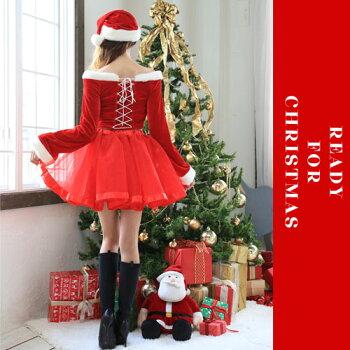 サンタコスプレサンタコス激安クリスマスサンタクロースコスチュームセクシーパーティ大きいサイズワンピースワンピドレスコス衣装長袖サンタコスプレセクシーサンタサンタコスチュームセットアップサンタ帽子2016赤レッドレディースファッション冬
