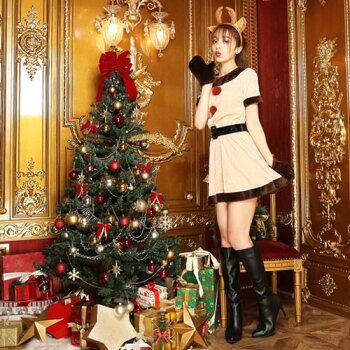 トナカイコスプレコスチューム衣装クリスマス大きいサイズコス激安ワンピースワンピトナカイコスプレトナカイコスチュームトナカイコスサンタサンタクロースサンタコスパーティー・イベント用品・販促品コスプレ・変装・仮装レディースサンタクロース2016