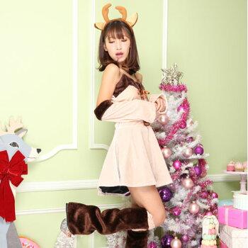 トナカイコスプレコスチューム衣装クリスマス着ぐるみコス激安仮装トナカイコスプレトナカイコストナカイコスチュームワンピースワンピクリスマスコスプレクリスマスコスチュームパーティセクシーサンタクロースサンタサンタコスレディースファッション