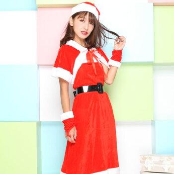 サンタコスプレ激安サンタコスクリスマス大きいサイズコス衣装コスチューム仮装セクシーサンタクロースパーティサンタコスプレサンタコスチュームレディースワンピース大人小物アームウォーマーケープサンタ帽子赤レッド2016レディースファッション