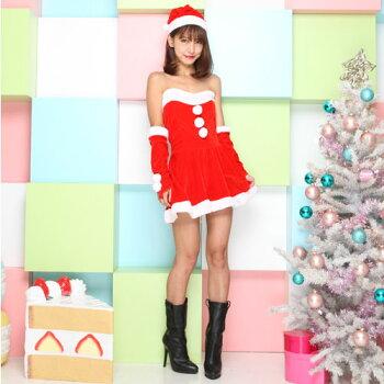 サンタコスプレ激安サンタコスクリスマス大きいサイズコス衣装コスチュームセクシーサンタクロースパーティサンタコスプレミニスカサンタサンタコスチュームレディースワンピース小物アームウォーマーサンタ帽子赤レッド2016レディースファッション