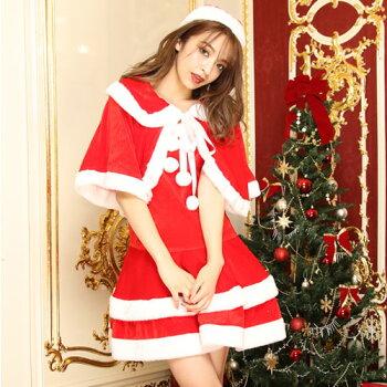 サンタコスプレ激安サンタコス衣装コスクリスマスコスチューム大きいサイズセクシーサンタクロースパーティワンピースワンピサンタコスプレサンタ衣装ケープポンチョサンタ帽子ミニスカサンタ通販赤レッド2016レディースレディースファッション冬
