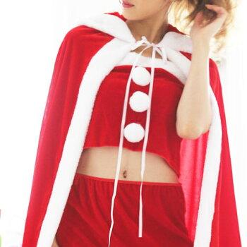 【サンタケープポンチョコートマント】サンタコスプレ激安長袖サンタコスクリスマスコスチュームサンタクロース大きいサイズ衣装仮装コスセクシーパーティサンタコスプレサンタコスチュームクリスマスコスプレ赤レッド2016レディースファッション冬