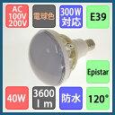 バラストレス水銀灯形 防水 LED電球 40W 3600lm 電球色 E39