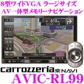 【只今エントリーでポイント5倍&クーポン!】カロッツェリア 楽ナビ AVIC-RL99 8V型 VGAモニター LS(ラージサイズ)メインユニットタイプ 地上デジタルTV/DVD-V/CD/Bluetooth/SD/チューナー・DSP AV一体型メモリーナビゲーション